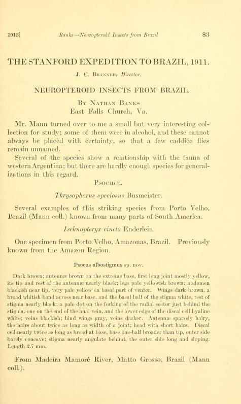 Banks (1913) Psyche 20: 83-89