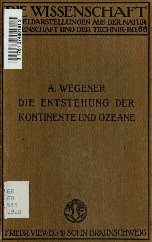 Die Entstehung der Kontinente und Ozeane by Alfred Wegener