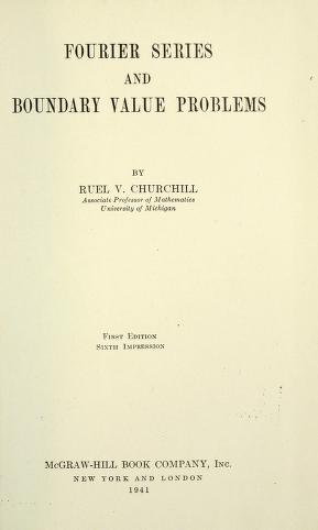 Fourier series and boundary value problems by Ruel Vance Churchill